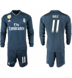 2018-19 Real Madrid 11 BALE Away Long Sleeve Soccer Jersey