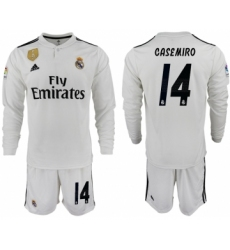 2018-19 Real Madrid 14 CASEMIRO Home Long Sleeve Soccer Jersey