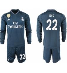 2018-19 Real Madrid 22 ISCO Away Long Sleeve Soccer Jersey