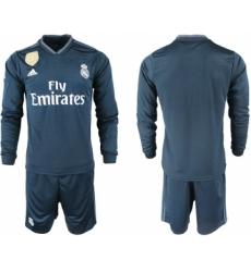 2018-19 Real Madrid Away Long Sleeve Soccer Jersey