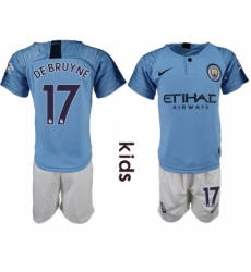 2018-19 Manchester City 17 DE BRUYNE Home Youth Soccer Jersey