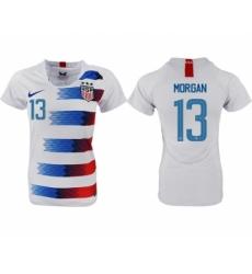 2018-19 USA 13 MORGAN Home Women Soccer Jersey