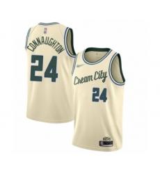 Men's Milwaukee Bucks #24 Pat Connaughton Swingman Cream Basketball Jersey - 2019 20 City Edition