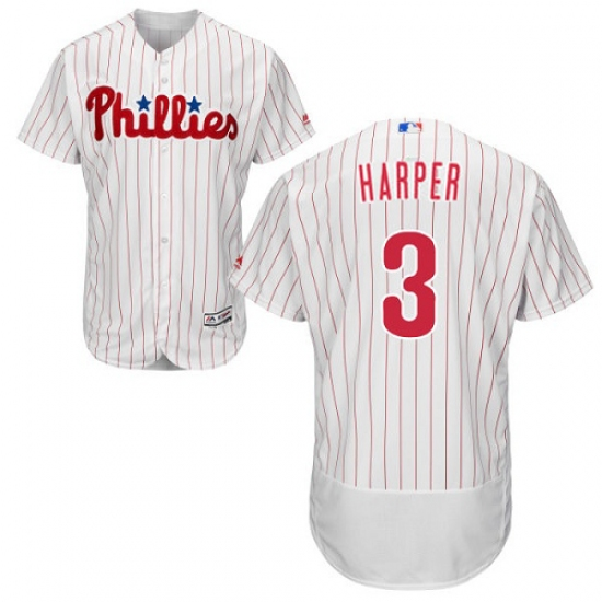 Men's Philadelphia Phillies #3 Bryce Harper White(Red Strip) Flexbase Authentic Collection Stitched MLB Jersey