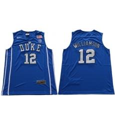 Duke Blue Devils #12 Zion Williamson Royal Blue Basketball Elite Stitched NCAA Jersey