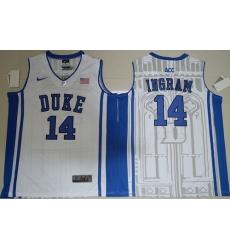 Duke Blue Devils #14 Brandon Ingram White Basketball Elite V Neck Stitched NCAA Jersey