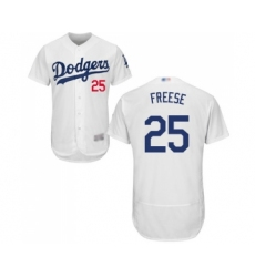 Men's Los Angeles Dodgers #25 David Freese White Home Flex Base Authentic Collection Baseball Jersey