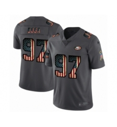 Men's San Francisco 49ers #97 Nick Bosa Limited Black USA Flag 2019 Salute To Service Football Jersey