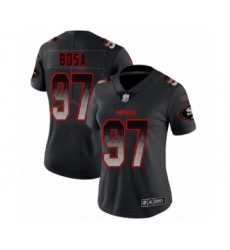 Women's San Francisco 49ers #97 Nick Bosa Limited Black Smoke Fashion Football Jersey
