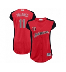 Women's Minnesota Twins #11 Jorge Polanco Authentic Red American League 2019 Baseball All-Star Jersey