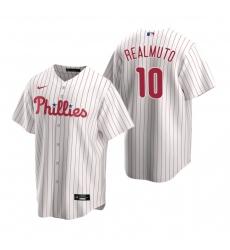 Men's Nike Philadelphia Phillies #10 J.T. Realmuto White Home Stitched Baseball Jersey