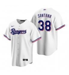 Men's Nike Texas Rangers #38 Danny Santana White Home Stitched Baseball Jersey