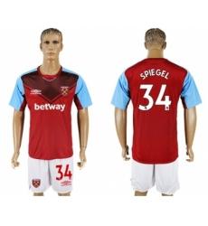 West Ham United #34 Spiegel Home Soccer Club Jersey
