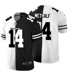 Men's Seattle Seahawks #14 D.K. Metcalf Black White Limited Split Fashion Football Jersey
