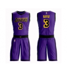 Men's Los Angeles Lakers #3 Anthony Davis Swingman Purple Basketball Suit Jersey - City Edition