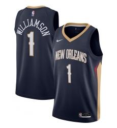 Men's New Orleans Pelicans #1 Zion Williamson Nike Navy 2020-21 Swingman Jersey
