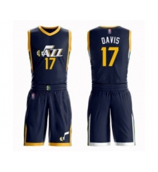 Men's Utah Jazz #17 Ed Davis Authentic Navy Blue Basketball Suit Jersey - Icon Edition