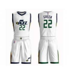 Men's Utah Jazz #22 Jeff Green Authentic White Basketball Suit Jersey - Association Edition