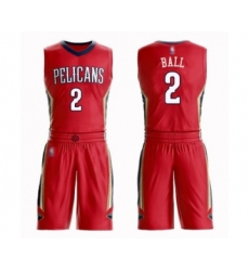 Men's New Orleans Pelicans #2 Lonzo Ball Swingman Red Basketball Suit Jersey Statement Edition