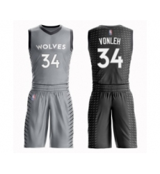 Men's Minnesota Timberwolves #34 Noah Vonleh Swingman Gray Basketball Suit Jersey - City Edition