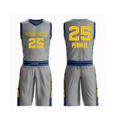 Men's Memphis Grizzlies #25 Miles Plumlee Swingman Gray Basketball Suit Jersey - City Edition