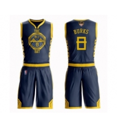 Men's Golden State Warriors #8 Alec Burks Swingman Navy Blue Basketball Suit Jersey - City Edition