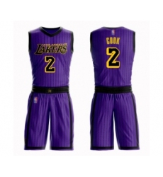 Men's Los Angeles Lakers #2 Quinn Cook Swingman Purple Basketball Suit Jersey - City Edition