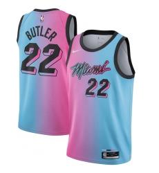 Youth Miami Heat #22 Jimmy Butler Nike Pink-Blue 2020-21 Swingman Jersey