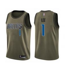 Men's Dallas Mavericks #1 Courtney Lee Swingman Green Salute to Service Basketball Jersey