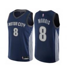 Men's Detroit Pistons #8 Markieff Morris Authentic Navy Blue Basketball Jersey - City Edition