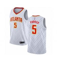Men's Atlanta Hawks #5 Jabari Parker Authentic White Basketball Jersey - Association Edition