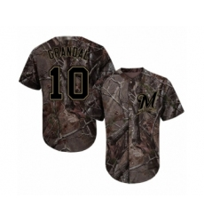 Men's Milwaukee Brewers #10 Yasmani Grandal Authentic Camo Realtree Collection Flex Base Baseball Jersey