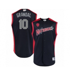 Men's Milwaukee Brewers #10 Yasmani Grandal Authentic Navy Blue National League 2019 Baseball All-Star Jersey