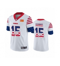 Men's Kansas City Chiefs #15 Patrick Mahomes Limited White Independence Day Football Jersey