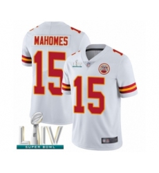 Youth Kansas City Chiefs #15 Patrick Mahomes White Vapor Untouchable Limited Player Super Bowl LIV Bound Football Jersey