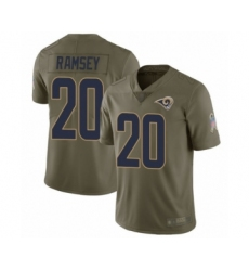 Men's Los Angeles Rams #20 Jalen Ramsey Limited Olive 2017 Salute to Service Football Jersey