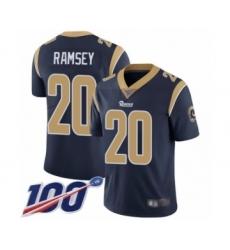 Men's Los Angeles Rams #20 Jalen Ramsey Navy Blue Team Color Vapor Untouchable Limited Player 100th Season Football Jersey