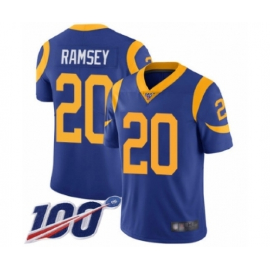 Men's Los Angeles Rams #20 Jalen Ramsey Royal Blue Alternate Vapor Untouchable Limited Player 100th Season Football Jersey
