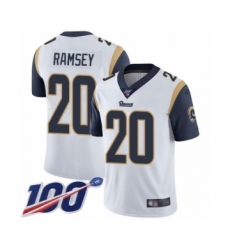 Men's Los Angeles Rams #20 Jalen Ramsey White Vapor Untouchable Limited Player 100th Season Football Jersey