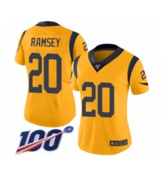 Women's Los Angeles Rams #20 Jalen Ramsey Limited Gold Rush Vapor Untouchable 100th Season Football Jersey