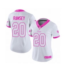 Women's Los Angeles Rams #20 Jalen Ramsey Limited White Pink Rush Fashion Football Jersey