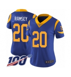 Women's Los Angeles Rams #20 Jalen Ramsey Royal Blue Alternate Vapor Untouchable Limited Player 100th Season Football Jersey