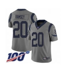 Youth Los Angeles Rams #20 Jalen Ramsey Limited Gray Inverted Legend 100th Season Football Jersey
