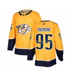 Men's Nashville Predators #95 Matt Duchene Authentic Gold Home Hockey Jersey