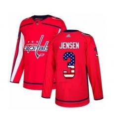 Youth Washington Capitals #3 Nick Jensen Authentic Red USA Flag Fashion Hockey Jersey