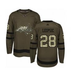 Men's Washington Capitals #28 Brendan Leipsic Authentic Green Salute to Service Hockey Jersey