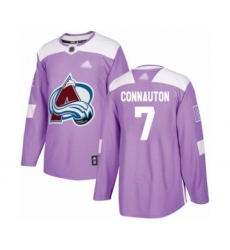 Men's Colorado Avalanche #7 Kevin Connauton Authentic Purple Fights Cancer Practice Hockey Jersey