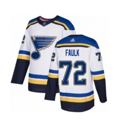 Men's St. Louis Blues #72 Justin Faulk Authentic White Away Hockey Jersey