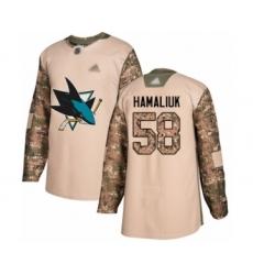 Men's San Jose Sharks #58 Dillon Hamaliuk Authentic Camo Veterans Day Practice Hockey Jersey
