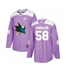 Men's San Jose Sharks #58 Dillon Hamaliuk Authentic Purple Fights Cancer Practice Hockey Jersey